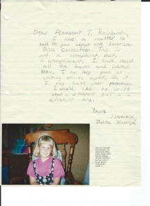 "This is the letter I wrote to Pleasant T. Rowland, founder of American Girl, when I was eight, asking if I could write books for her company. I love my confidence back then! I told her I was ""very good at writing stories myself."" :) (And that's me, age 8, in the photo!)"