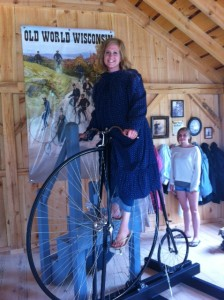 "And this is me now, goofing around during ""Bicycle Fever"" at Old World Wisconsin. Maybe I didn't outgrow that whole pioneer thing."